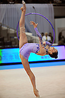 September 8, 2009; Mie, Japan;  Liubov Charkashyna of Belarus performs balance  with hoop during training at 2009 World Championships Mie. Liubov would eventually place 7th in the individual All Around and help Belarus win team silver. Photo by Tom Theobald.