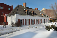Manoir Boucher de Niverville, built in 1668 in French colonial style by Jacques LeNeuf de la Poterie, Governor of Trois-Rivieres, on the Rue Bonaventure in Trois-Rivieres, Mauricie, on the Chemin du Roi, Quebec, Canada. The building is a now a museum, with displays about life in New France. The Chemin du Roy or King's Highway is a historic road along the Saint Lawrence river built 1731-37, connecting communities between Quebec City and Montreal. Picture by Manuel Cohen