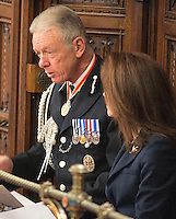18 May 2016 - London England - Sir Bernard Hogan-Howe is pictured ahead of the Queen's Speech during the State Opening of Parliament in London in the House of Lords. The State Opening of Parliament marks the formal start of the parliamentary year and the Queen's Speech sets out the government's agenda for the coming session. Photo Credit: ALPR/AdMedia