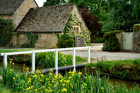 Bbuildings/houses in Lower Slaughterwith blooming iris and stream. The Cotswolds, England