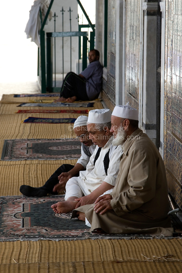 Tripoli, Libya - Old Men Awaiting Prayers, Karamanli Mosque, 18th Century