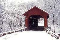 covered bridge, winter, Northfield Falls, Vermont, VT, Slaughter House Covered Bridge on a snowy day in Northfield Falls in winter.