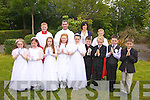 Pupils from Aghatubris National School who made their First Holy Communion on Saturday in St Joseph's Church Aghatubrid were front l-r; Caoimhe Cournane, Niamh McCrohan, Cloe Sheehan, Rebecca Corcoran, Lil Kelly, Jack Sugrue, Fergal O'Shea, Ciaran O'Connell, Will Galvin, back l-r; Bryan Corcoran, Fr Niall Howard, Marie Ni? Loinsigh(Teacher) & Stephen Corcoran.