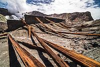 Old, rusty factory at White Island Volcano, Bay of Plenty, North Island, New Zealand