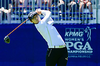 Sung Hyun Park (KOR) watches her tee shot on 1 during Sunday's final round of the 2017 KPMG Women's PGA Championship, at Olympia Fields Country Club, Olympia Fields, Illinois. 7/2/2017.<br /> Picture: Golffile   Ken Murray<br /> <br /> <br /> All photo usage must carry mandatory copyright credit (&copy; Golffile   Ken Murray)