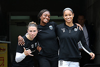 CARY, NC - OCTOBER 20: Morgan Andrews #12, Ifeoma Onumonu #25, and Darian Jenkins #11 of Reign FC during a game between Reign FC and North Carolina Courage at Sahlen's Stadium at WakeMed Soccer Park on October 20, 2019 in Cary, North Carolina.