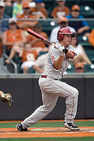 Shortstop Caleb Bushyhead #5 of the Oklahoma Sooners swings against the Texas Longhorns in NCAA Big XII baseball on May 1, 2011 at Disch Falk Field in Austin, Texas. (Photo by Andrew Woolley / Four Seam Images)