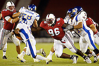 Bubatunde Oshinowo during Stanford's 63-26 win over San Jose State on September 14, 2002 at Stanford Stadium.<br />Photo credit mandatory: Gonzalesphoto.com