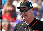 SF Giants' head coach Bruce Bochy works the sidelines of a spring training game in Peoria, Ariz., on Wednesday, March 16, 2016. <br />