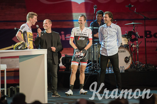 Karl Vannieuwkerke interviewing Sep Vanmarcke (BEL/LottoNL-Jumbo) & Edward Theuns (BEL/Trek-Segafredo) in front of 6000 fans during 'Ciao Fabian'; a farewell event in 't Kuipke in Gent/Belgium for Fabian Cancellara after his retiring from pro racing (november 2016)