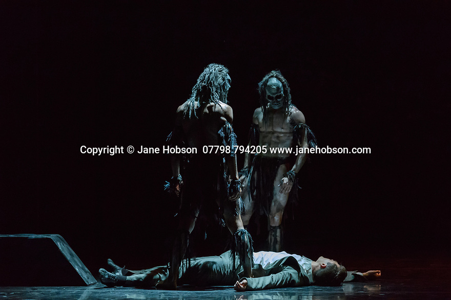 London, UK. 16.05.2017. Rambert present Christopher Bruce's GHOST DANCES, at Sadler's Wells. Set design by Christopher Bruce, costume design by Belinda Scarlett and lighting design by Nick Chelton. Ghost Dancers are: Daniel Davidson, Liam Francis, Juan Gil. Photograph © Jane Hobson.