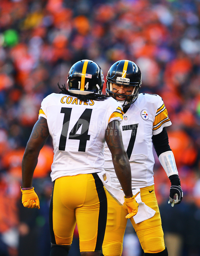 Jan 17, 2016; Denver, CO, USA; Pittsburgh Steelers quarterback Ben Roethlisberger (7) and wide receiver Sammie Coates (14) against the Denver Broncos during the AFC Divisional round playoff game at Sports Authority Field at Mile High. Mandatory Credit: Mark J. Rebilas-USA TODAY Sports
