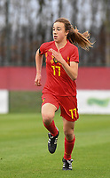 20181205 - TUBIZE , BELGIUM : Belgian Maude Lecocq pictured during the friendly female soccer match between Women under 15 teams of  Belgium and Gemany , in Tubize , Belgium . Wednesday 5 th December 2018 . PHOTO SPORTPIX.BE / DIRK VUYLSTEKE