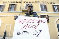 Roma , 17 Febbraio 2012.Piazza Montecitorio.Migranti manifestano davanti il Parlamento contro l'aumento del costo del  Permesso di Soggiorno