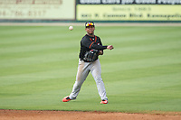 Delmarva Shorebirds second baseman Ronarsy Ledesma (2) makes a throw to first base against the Kannapolis Intimidators at CMC-Northeast Stadium on June 7, 2015 in Kannapolis, North Carolina.  The Shorebirds defeated the Intimidators 9-1.  (Brian Westerholt/Four Seam Images)