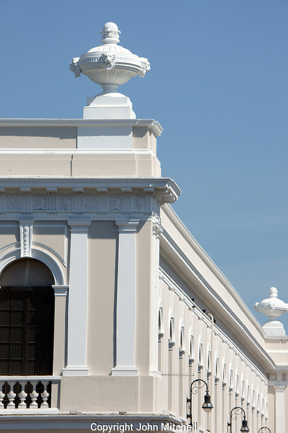 Roofline of the Bishop's Palace or Peninsular Athenaeum on Plaza Grande, Merida, Yucatan, Mexico.
