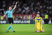 14th September 2017, Red Star Stadium, Belgrade, Serbia; UEFA Europa League Group stage, Red Star Belgrade versus BATE; Forward Nikolai Signevich of FC BATE Borisov appeals to the referee for the foul