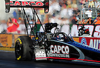 Feb. 9, 2012; Pomona, CA, USA; NHRA top fuel dragster driver Steve Torrence during qualifying at the Winternationals at Auto Club Raceway at Pomona. Mandatory Credit: Mark J. Rebilas-