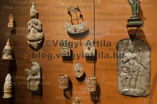 Various golden and silver artifacts are seen on display in the Southeast Gold Museum that presents hundreds of golden artifacts from the private collection of founder Istvan Zelnik in Budapest, Hungary on September 15, 2011. ATTILA VOLGYI