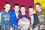 Duagh heroes: Receiving their Bord na nOg awards on Thursday night were Duagh footballers Ruaidhri Keane, Kieran Lucey, Pj Mangan, Gerard McCarthy and Padraig McNamara..   Copyright Kerry's Eye 2008