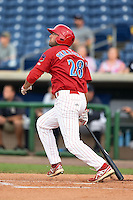 Clearwater Threshers designated hitter Chris Serritella (28) at bat during a game against the Tampa Yankees on June 26, 2014 at Bright House Field in Clearwater, Florida.  Clearwater defeated Tampa 4-3.  (Mike Janes/Four Seam Images)