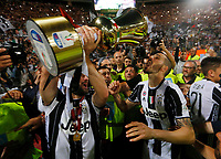 Gonzalo Higuain  and Leonardo Bonucci  of Juventus  celebrate after win    Italy Cup Final  football match against SS Lazio at  the Olympic stadium in Rome, Italy   17  May 2017