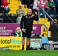 Morecambe manager Jim Bentley shouts instructions to his team from the technical area<br /> <br /> Photographer Andrew Vaughan/CameraSport<br /> <br /> The EFL Sky Bet League Two - Lincoln City v Morecambe - Saturday August 12th 2017 - Sincil Bank - Lincoln<br /> <br /> World Copyright &copy; 2017 CameraSport. All rights reserved. 43 Linden Ave. Countesthorpe. Leicester. England. LE8 5PG - Tel: +44 (0) 116 277 4147 - admin@camerasport.com - www.camerasport.com