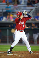 Auburn Doubledays first baseman Matthew Page (15) at bat during a game against the State College Spikes on July 6, 2015 at Falcon Park in Auburn, New York.  State College defeated Auburn 9-7.  (Mike Janes/Four Seam Images)