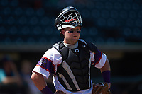 Winston-Salem Rayados catcher Evan Skoug (19) on defense against the Lynchburg Hillcats at BB&T Ballpark on June 23, 2019 in Winston-Salem, North Carolina. The Hillcats defeated the Rayados 12-9 in 11 innings. (Brian Westerholt/Four Seam Images)