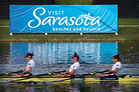 Sarasota. Florida USA.  Sinage with Blurred rowers passing .2017 World Rowing Championships, Nathan Benderson Park<br /> <br /> Saturday  30.09.17   <br /> <br /> [Mandatory Credit. Peter SPURRIER/Intersport Images].<br /> <br /> <br /> NIKON CORPORATION -  NIKON D500  lens  VR 500mm f/4G IF-ED mm. 160 ISO 1/80/sec. f 20