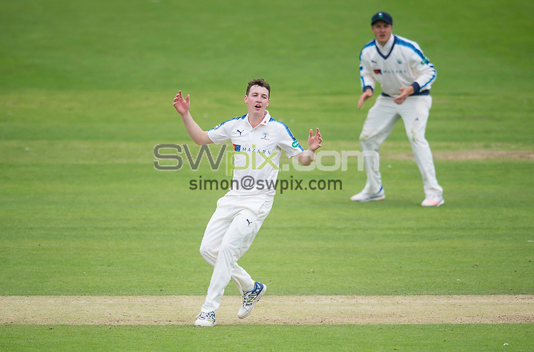 Picture by Allan McKenzie/SWpix.com - 05/07/2017 - Cricket - Specsavers County Championship - Yorkshire County Cricket Club v Somerset County Cricket Club - North Marine Road, Scarborough, England - Yorkshire's Harry Brook reacts to a close dismissal.