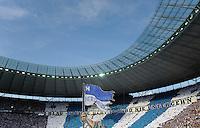 Fussball Bundesliga Saison 2011/2012 1. Spieltag Hertha BSC Berlin - 1. FC Nuernberg Die Fans der Berliner Ostkurve halten ein Banner mit der Aufschrift: Blau Weisse Hertha wird nie untergehen.