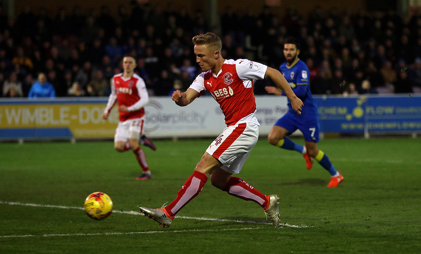 Fleetwood Town's Kyle Dempsey skips past the AFC Wimbledon goalkeeper James Shea but is unable to score<br /><br />Photographer Rob Newell/CameraSport<br /><br />The EFL Sky Bet League One - AFC Wimbledon v Fleetwood Town - Saturday 26th November 2016 - The Cherry Red Records Stadium - London<br /><br />World Copyright &copy; 2016 CameraSport. All rights reserved. 43 Linden Ave. Countesthorpe. Leicester. England. LE8 5PG - Tel: +44 (0) 116 277 4147 - admin@camerasport.com - www.camerasport.com