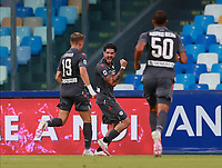 19th July 2020; Stadio San Paolo, Naples, Campania, Italy; Serie A Football, Napoli versus Udinese; Rodrigo De Paul of Udinese Calcio celebrates after scoring in the 22nd  minute for 1-0