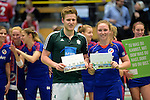 GER - Luebeck, Germany, February 07: During the prize giving ceremony at the Final 4 on February 7, 2016 at Hansehalle Luebeck in Luebeck, Germany. (Photo by Dirk Markgraf / www.265-images.com) *** Local caption *** Best Players under 23: Nike Lorenz #16 of Mannheimer HC, Ferdinand Weinke #4 of HTC Uhlenhorst Muehlheim