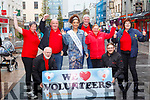 Launching the Rose of Tralee Volunteers drive in the Mall on Friday.<br /> Kneeling l to r: Martin Brosnan and Matthew Hanlon.<br /> Standing l to r: Ann Leahy O'Shea, Martin O'Shea,   Rose of Tralee Kirsten Mate Maher, Gavin Gallagher, Michelle Reidy Gallagher, Bridget Sugrue,