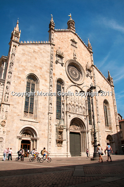 Facade of the Duomo Cathedral in Como, Italy on Lake Como