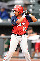 Aldrem Corredor (30) of the Hagerstown Suns with the North team bats during the South Atlantic League All-Star Game on Tuesday, June 20, 2017, at Spirit Communications Park in Columbia, South Carolina. The game was suspended due to rain after seven innings tied, 3-3. (Tom Priddy/Four Seam Images)