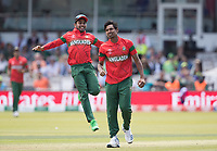 Mehedi Hasan Miraz (Bangladesh) quick to celebrate with Mustafizur Rahman (Bangladesh) following the wicket of Shadab during Pakistan vs Bangladesh, ICC World Cup Cricket at Lord's Cricket Ground on 5th July 2019