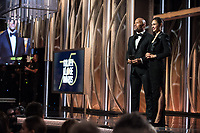 Dwayne Johnson and Gal Gadot on stage at the 75th Annual Golden Globe Awards at the Beverly Hilton in Beverly Hills, CA on Sunday, January 7, 2018.<br /> *Editorial Use Only*<br /> CAP/PLF/HFPA<br /> &copy;HFPA/PLF/Capital Pictures