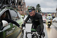 "Thomas ""Titi"" Voeckler (FRA/Europcar) handed a ""sticky bottle"" by the teamcar<br /> <br /> 70th Dwars Door Vlaanderen 2015"