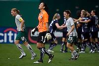 Lori Chalupny, Hope Solo, Tina DiMartino. The Washington Freedom defeated the Saint Louis Athletica, 3-1.