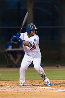 AZL Dodgers shortstop Donovan Solano (26) at bat during an Arizona League game against the AZL Angels at Camelback Ranch on July 8, 2018 in Glendale, Arizona. The AZL Dodgers defeated the AZL Angels by a score of 5-3. (Zachary Lucy/Four Seam Images)
