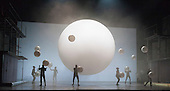 London, UK. 2 March 2016. Pictured: Gandini Juggling. English National Opera (ENO) dress rehearsal of the Philip Glass opera Akhnaten at the London Coliseum. 7 performances from 4  to 18 March 2016. Directed by Phelim McDermott with Anthony Roth Costanzo as Akhnaten, Emma Carrington as Nefertiti, Rebecca Bottone as Queen Tye, James Cleverton as Horemhab, Clive Bayley as Aye, Colin Judson as High Priest of Amon and Zachary James as Scribe. Skills performances by Gandini Juggling.