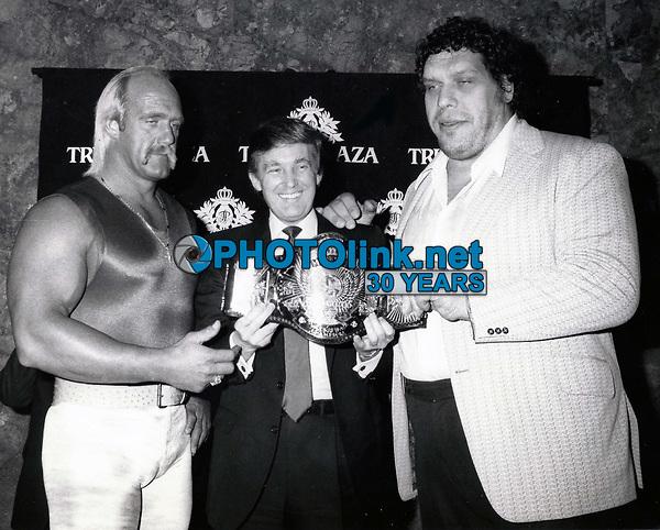 Hulk Hogan, Donald Trump, Andre the Giant 1987<br /> Photo By John Barrett-PHOTOlink.net