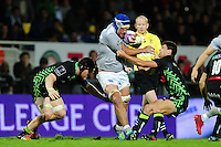 Leroy Houston of Bath Rugby takes on the Pau defence. European Rugby Challenge Cup match, between Pau (Section Paloise) and Bath Rugby on October 15, 2016 at the Stade du Hameau in Pau, France. Photo by: Patrick Khachfe / Onside Images