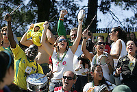 """FC Gold Pride fans celebrate during the """"Battle of the Samba Queens"""" match between FC Gold Pride and LA Sol, both with Brazilian National Team players. Los Angeles Sol defeated FC Gold Pride 2-0 at Buck Shaw Stadium in Santa Clara, California on May 24, 2009."""
