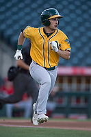 AZL Athletics center fielder Chase Calabuig (28) hustles down the first base line during an Arizona League game against the AZL Angels at Tempe Diablo Stadium on June 26, 2018 in Tempe, Arizona. The AZL Athletics defeated the AZL Angels 7-1. (Zachary Lucy/Four Seam Images)