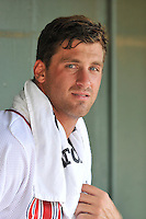 Pitcher Trevor Kelley (48) of the Greenville Drive cools off in the dugout between innings of a game against the Lakewood BlueClaws on Sunday, June 26, 2016, at Fluor Field at the West End in Greenville, South Carolina. Greenville won, 2-1. (Tom Priddy/Four Seam Images)