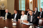 United States President Barack Obama, right, speaks during a meeting with U.S. House and U.S. Senate Democratic and Republican leaders as Speaker Nancy Pelosi (Democrat of California), second right, U.S. Senate Majority Leader Harry Reid (Democrat of Nevada, not pictured, U.S. Senate Republican Leader Mitch McConnell (Republican of Kentucky), not pictured, U.S. House Republican Leader John Boehner (Republican of Ohio), second left, and U.S. House Majority Leader Steny Hoyer (Democrat of Maryland) look on to.discuss the legislative agenda and the oil spill in the cabinet room of the White House in Washington, DC Thursday, June 10, 2010..Credit: Olivier Douliery / Pool via CNP